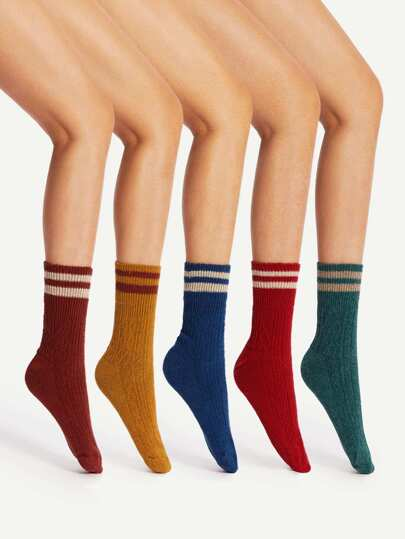 Striped Trim Ankle Socks 5pairs