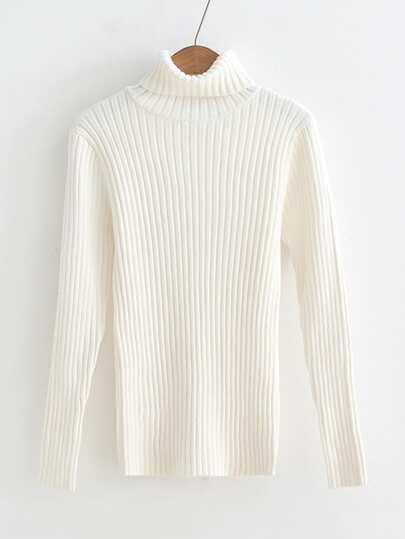 Rib Knit Turtleneck Slim Fit Sweater