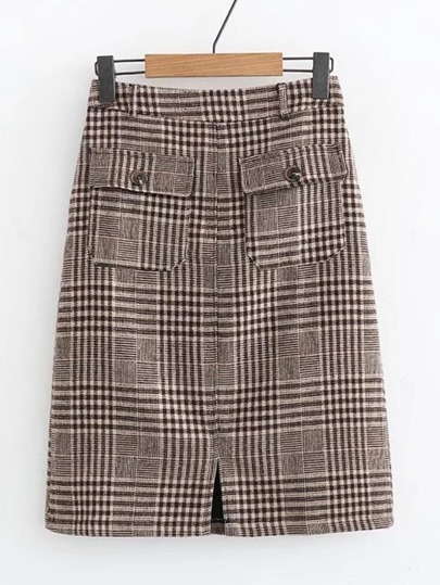 Front Pocket Plaid Skirt