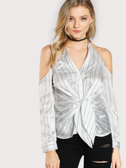 Striped Satin Cold Shoulder Top OFF WHITE BLACK