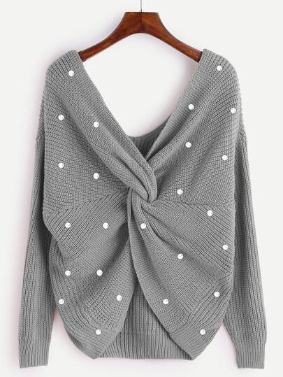 Infinity Pullover mit Perlen und Twist