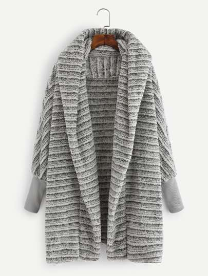 Striped Hooded Fluffy Coat