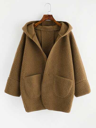 Kapuze Mantel mit doppelten Taschen