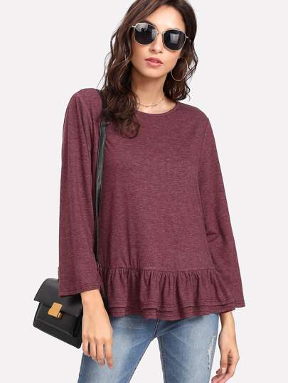 Layered Ruffle Trim Heathered T-shirt