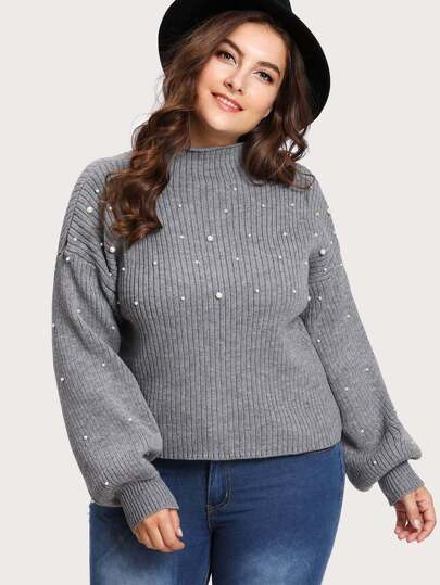 Drop Shoulder Pearl Beading Jumper 50 Exclusive Plus Size
