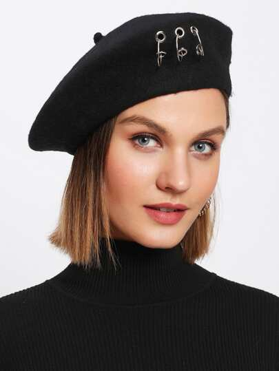 Ring Detail Beret Hat