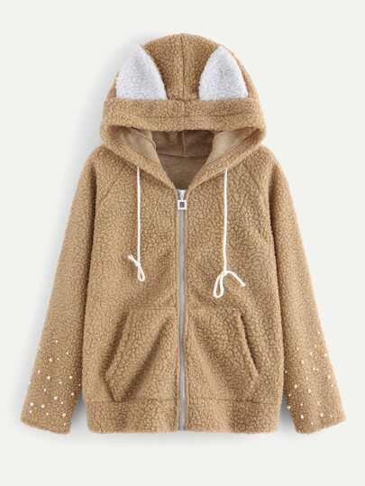 Pearl Beaded Contrast Ear Hooded Fluffy Jacket