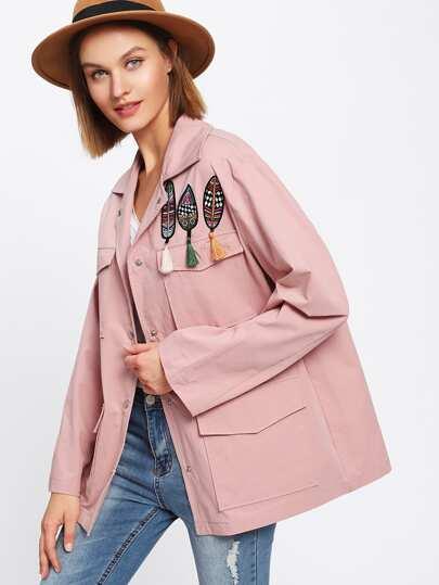 Leaf Embroidered Tassel Embellished Jacket