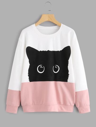 Cat Print Cut & Sew Panel Pullover