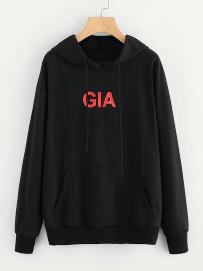 Camisa de capucha con letra