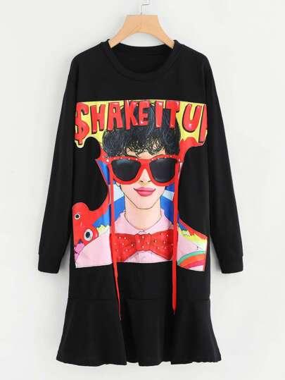 Figure Print Flounce Hem Sweatshirt Dress