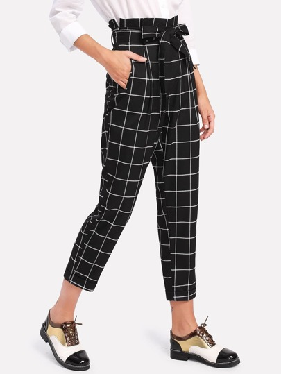 Self Belted Frilled Waist Grid Pants