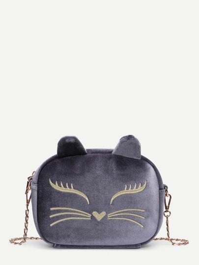 Bolsa de cadena con diseño bordado con diseño de oreja