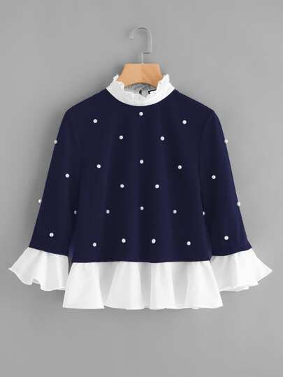Contrast Frill Trim Pearl Embellished Top