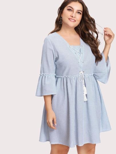 Tasseled Lace Up Frilled Striped Dress