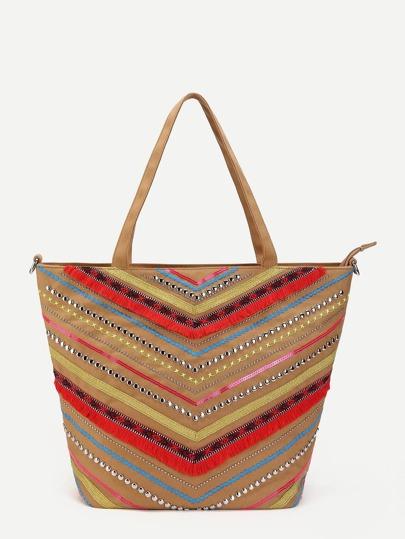 Fringe & Studded Detail Tote Bag