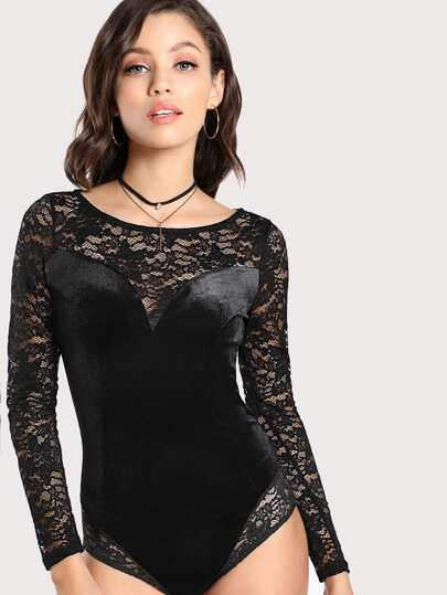 Lace Cut Out Velvet Bodysuit BLACK
