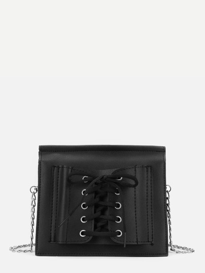 Lace Up Detail PU Chain Bag