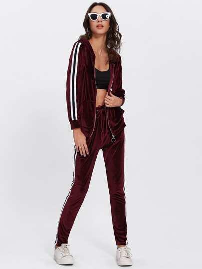 Contrast Stripe Side Velvet Hoodie And Pants