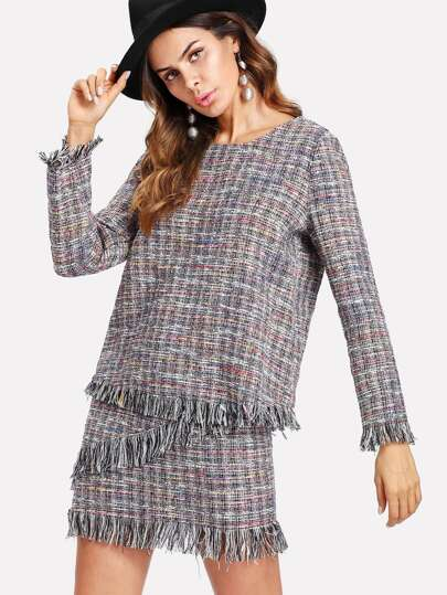 Fringe Trim Tweed Top & Skirt Set