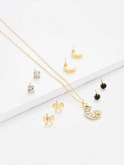 Moon Pendant Necklace & Flower Stud Earring Set