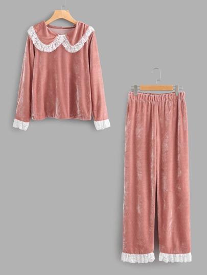 Ensemble de pyjama découpé contrasté imprimé fleuri en dentelle en velours