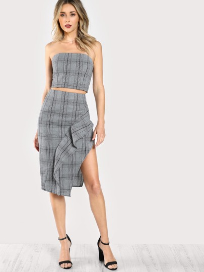 Plaid Tube Top & Maching Skirt Set GREY