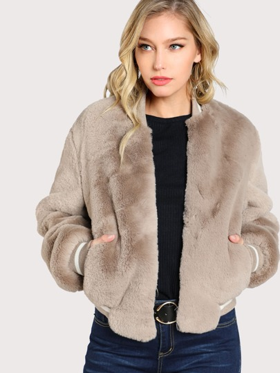Faux Fur Bomber Jacket TAUPE