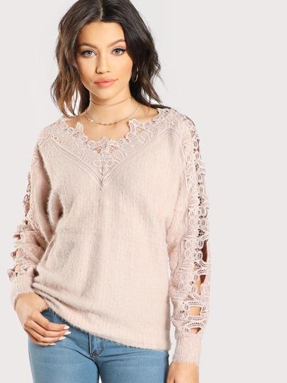 Jersey crochet de mohair sintético