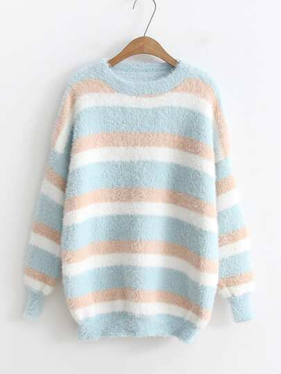 Block Striped Mohair Jumper Sweater