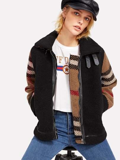 Contrast Plaid Tweed Sleeve Faux Shearling Jacket