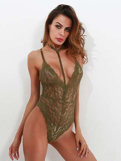 Scallop Trim Cross Back Lace Teddy With Choker