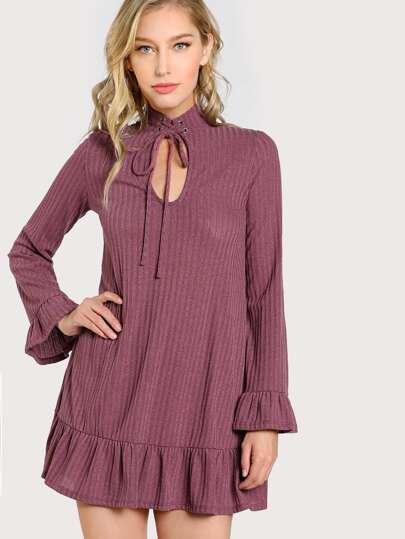 Choker Ribbed Long Sleeve Flowy Dress OLIVE