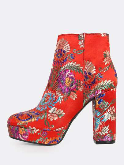 Oriental Print Fabric Boots RED