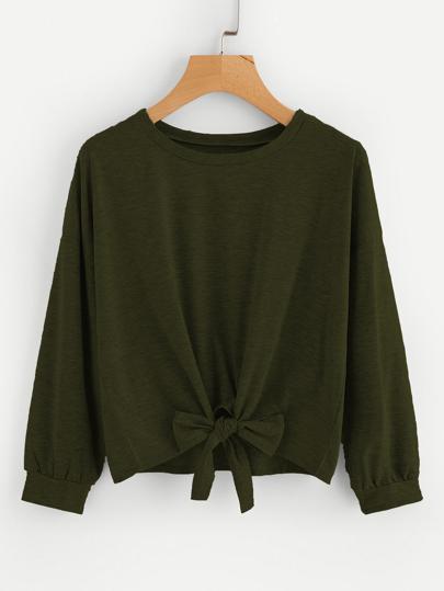 Bow Tie Front Drop Shoulder Sweatshirt