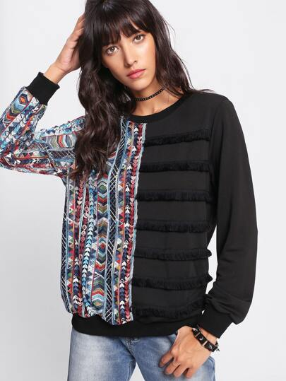 Fringe And Tribal Embroidery Front Pullover