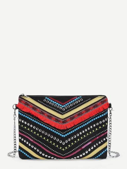 Fringe & Studded Detail Clutch Bag