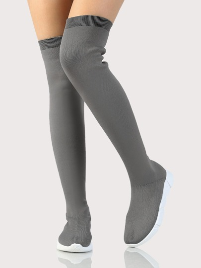 Over The Knee Knitted Boots GREY