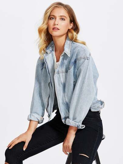 Bleach Wash Drop Shoulder Denim Jacket