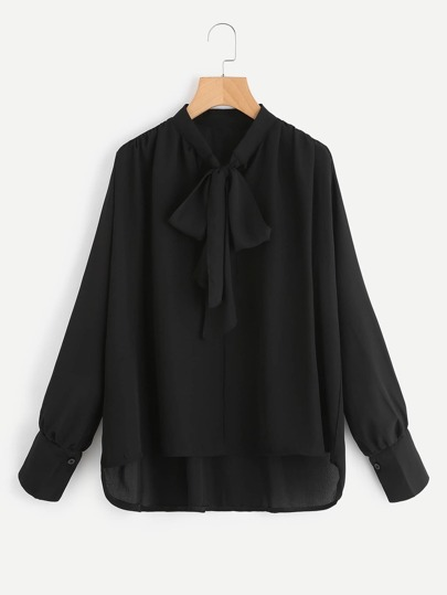 Bow Tie Neck High Low Blouse