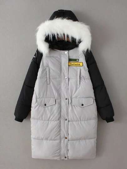 Abrigo guateado largo de capucha con manga en contraste