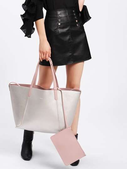 PU Tote Bag With Wallet