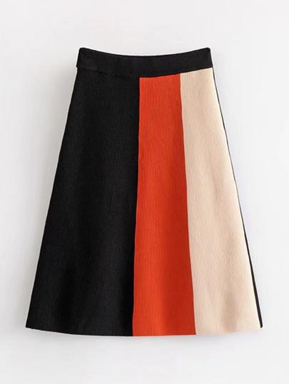 Falda de punto en color block