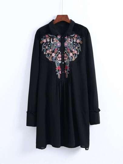 Flower Embroidered Shirt Dress