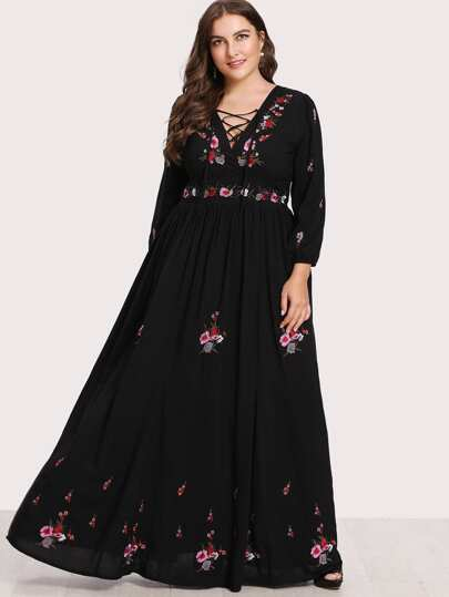 Lace Up Front Flower Embroidered Maxi Dress Exclusive Plus Size