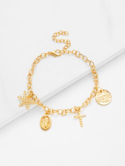 Snowflake & Cross Charm Link Bracelet