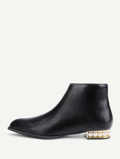 Side Zipper Faux Pearl Detail Ankle Boots