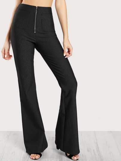 Bell Bottom Front Zip Up Pants BLACK