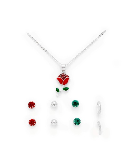 Flower Pendant Necklace & Stud Earring Set