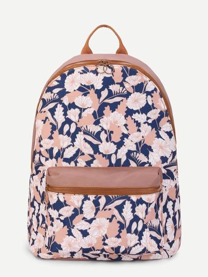 Flower Print Pocket Front Canvas Backpack